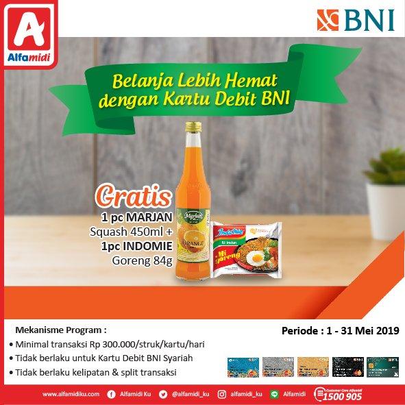 #Alfamidi - #Promo Belanja Untung Pakai Debit / Kredit Bank BNI (s.d 31 Mei 2019)
