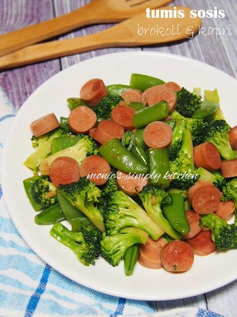 resep tumis brokoli kapri sosis