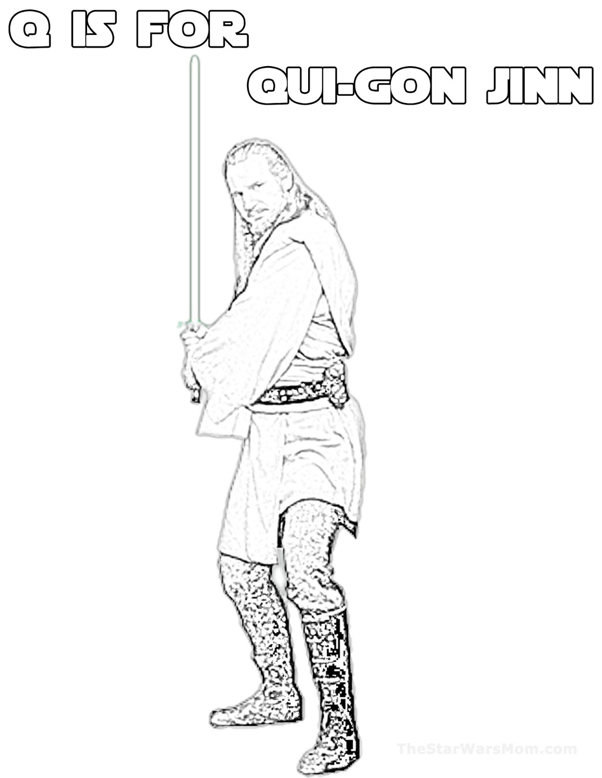 q is for qui gon jinn star wars alphabet coloring page the star