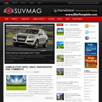 SuvMag blog template. automotive blogger template. magazine blogger template style. magazine style template blogspot