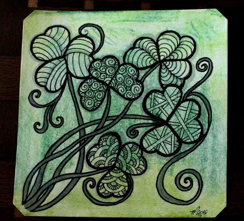 St. Patrick's Day Zentangle shamrock