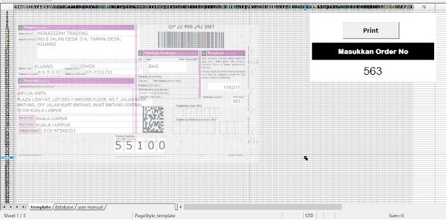 Template Poslaju Database System Purple (1 page) Open Office 4.1.3