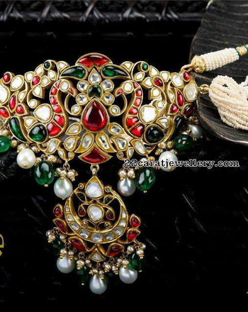 Dual Peacock Kundan Pendant by Arnav Jewels