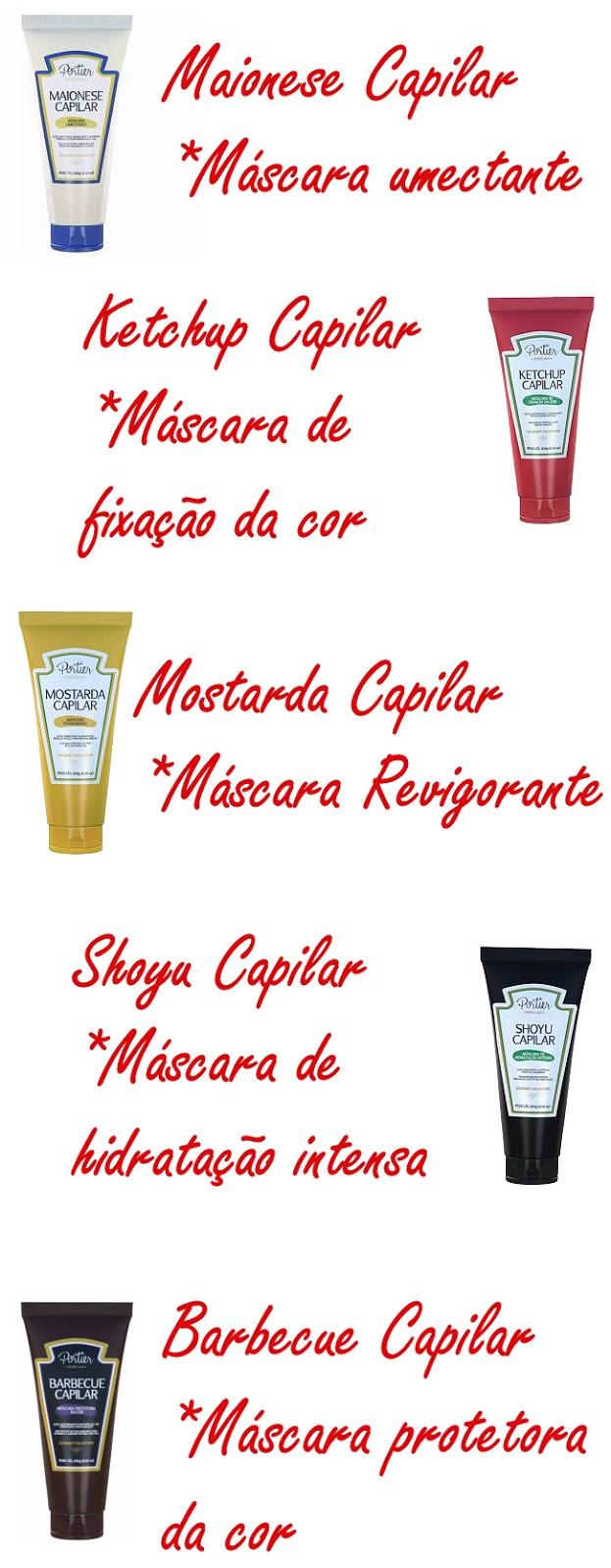 Maionese Capilar, Ketchup Capilar, Mostarda Capilar, Shoyu Capilar, Barbecue Capilar