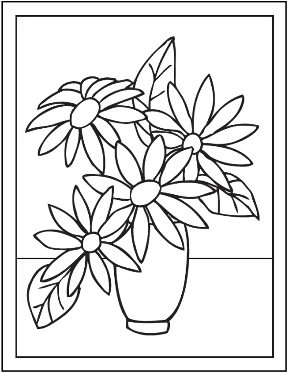 Kumpulan Sketsa Gambar Mewarnai Bunga Hitam Putih