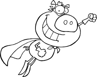 Clipart Image of a Superhero Pig for Colouring
