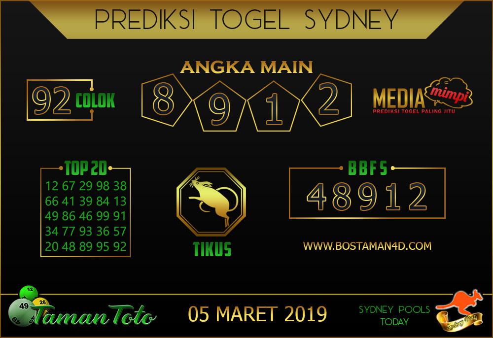 Prediksi Togel SYDNEY TAMAN TOTO 05 MARET 2019