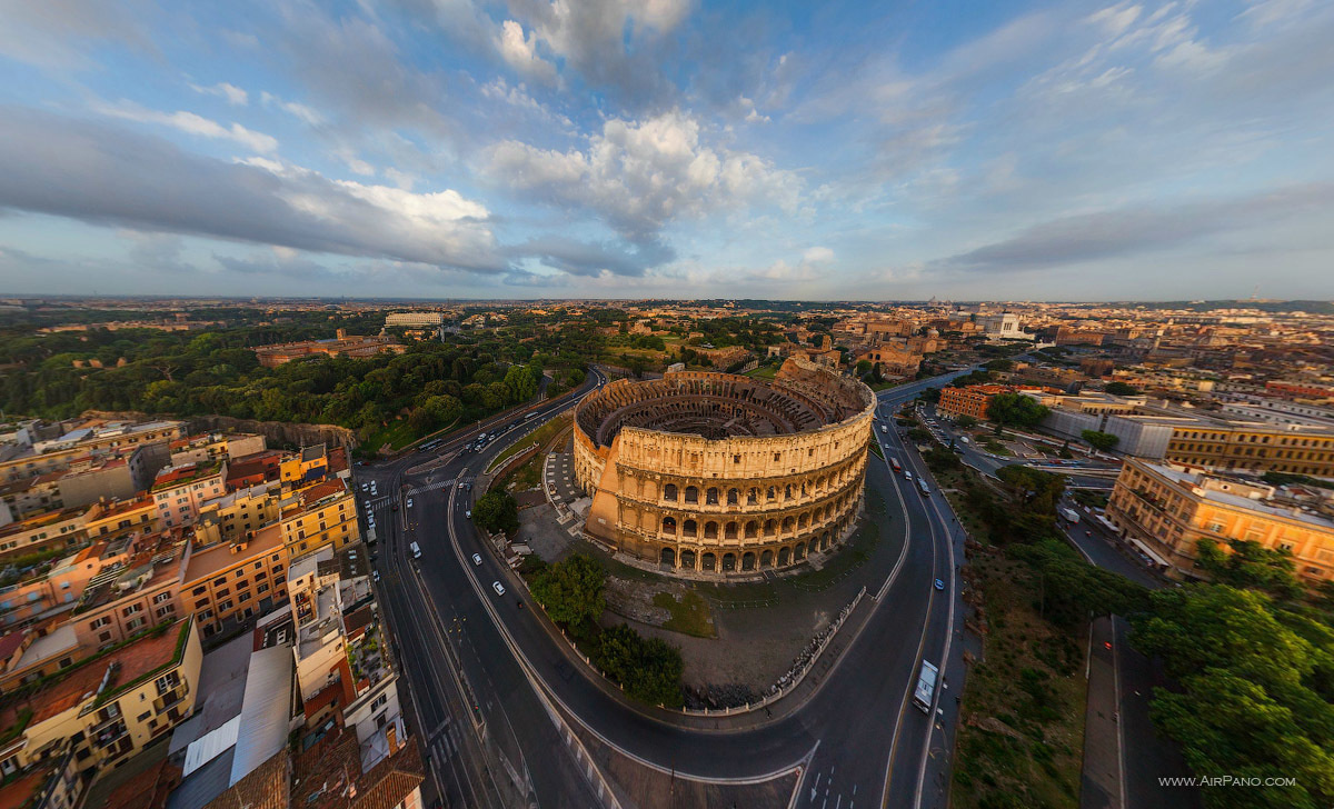 An amazing aerial look at the Roman Colosseum in Italy. - The Seven Wonders Of The World Look Totally Different In These Unique Photos.