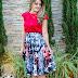 Meu Look: Saia Midi e Blusa Vermelha - Ateliê Hanna Maria