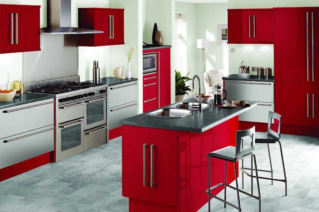 lemari dapur warna hitam merah