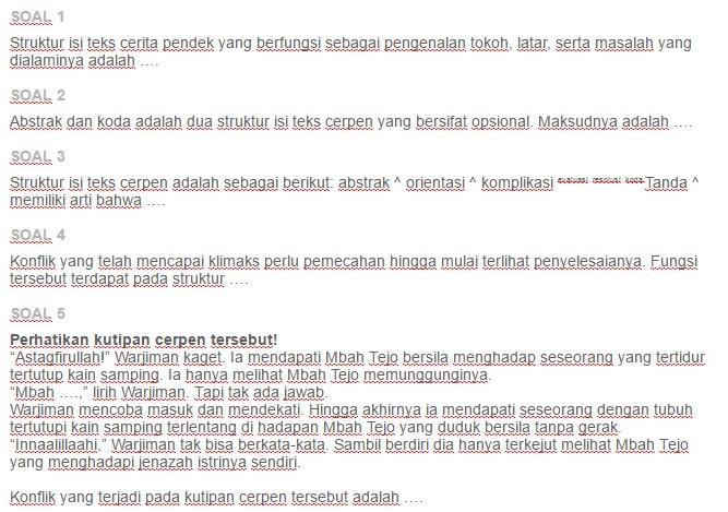 Contoh Soal Evaluasi Struktur Isi Dan Bahasa Teks Cerita Pendek