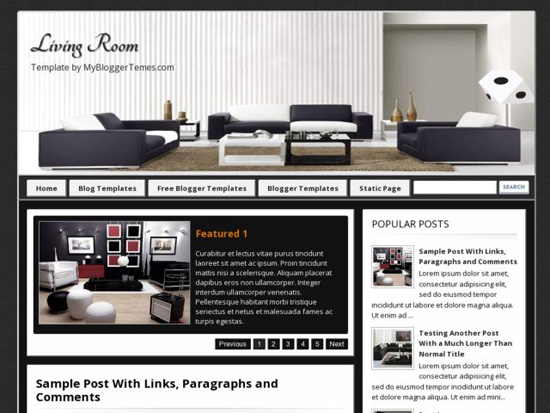 Living Room Blogger Template