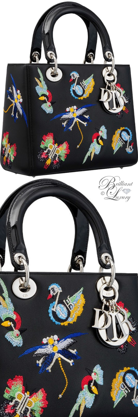 Brilliant Luxury ♦ Lady Dior bag in black calfskin embroidered with animals inspired by Dior charms