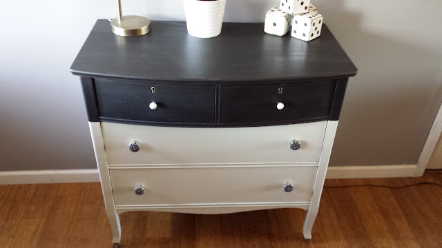 black and white farmhouse dresser