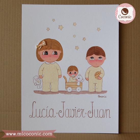 cuadro infantil ninos lamina personalizada bebes pijama estrellas osito