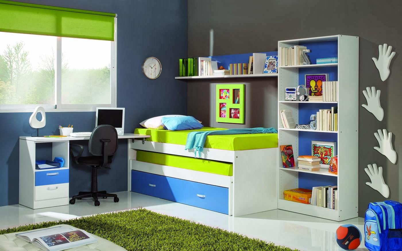 Dormitorio juvenil para varones recamara juvenil en azul - Cuarto de ninos decoracion ...