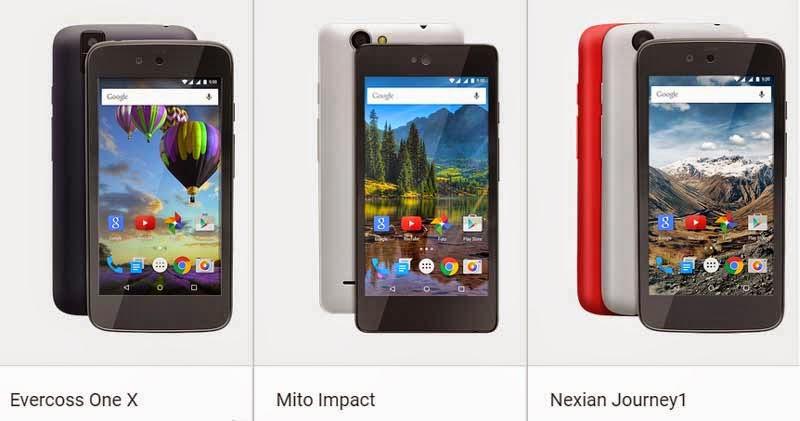Mito Impact, Evercoss One X dan Nexian Journey1 Android One