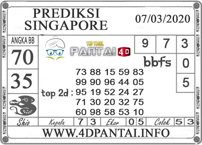 PREDIKSI TOGEL SINGAPORE PANTAI4D 07 MARET 2020