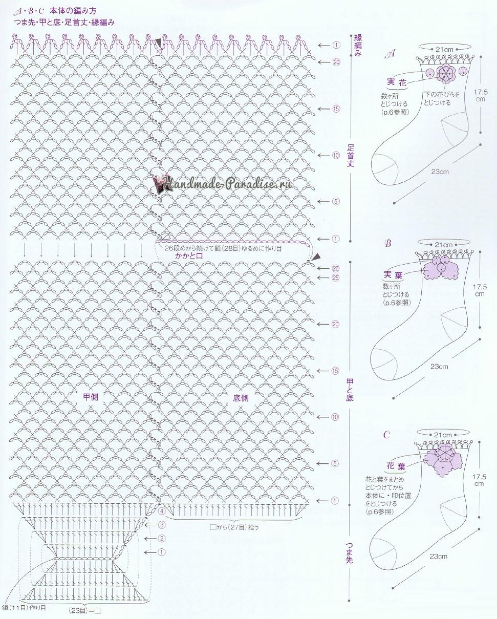 Схемы вязания крючком ажурных носочков (2)