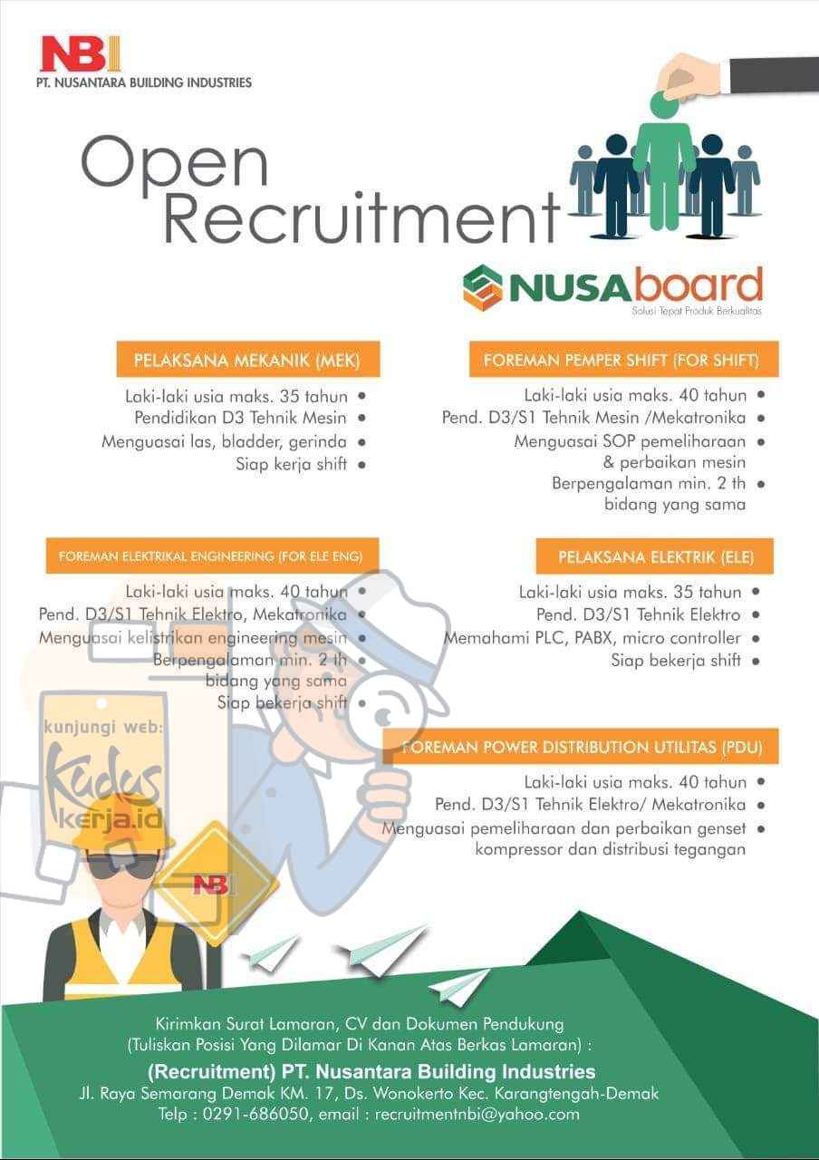 Lowongan Kerja Demak Pelaksana, Foreman di PT. Nusantara Building Industries
