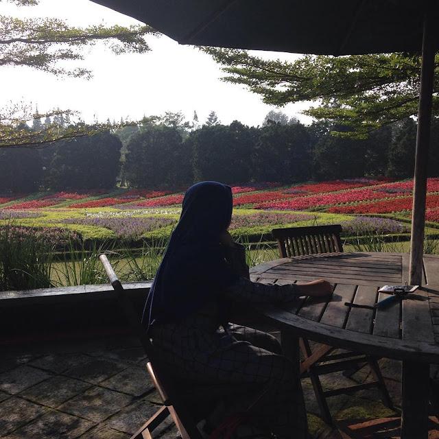 foto nongkrong di taman bunga nusantara