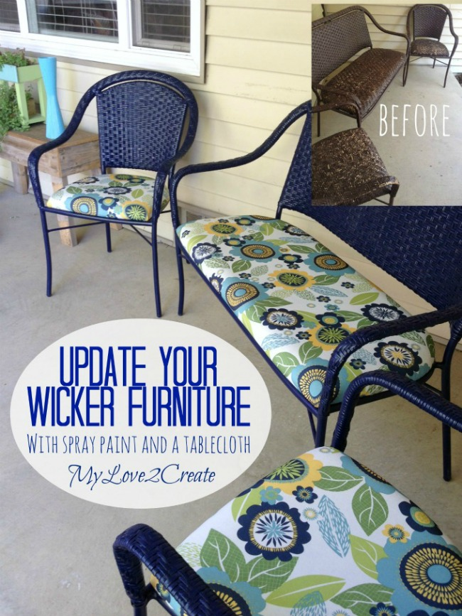 Wicker Furniture Makeover   My Love 2 Create MyLove2Create  Wicker Furniture Makeover