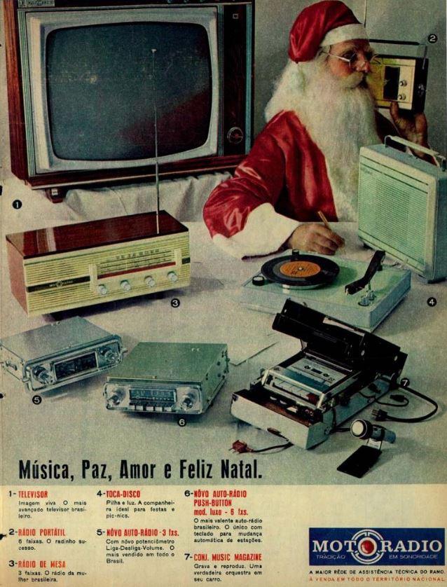 Linha de produtos da Motoradio como sugestão de presentes natalinos no final dos anos 60