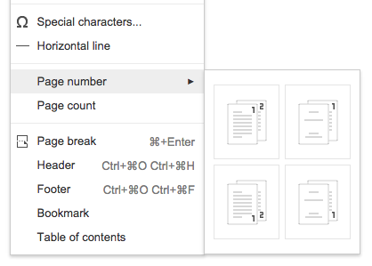 Different First Page Headers In Google Docs