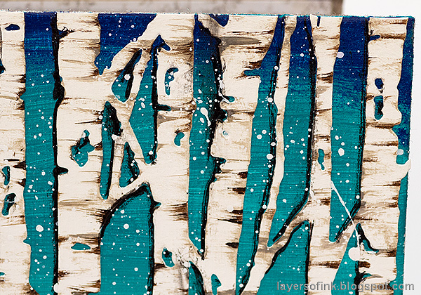 Layers of ink - Birch Forest December Daily Tutorial by Anna-Karin Evaldsson. Painted birch bark texture.