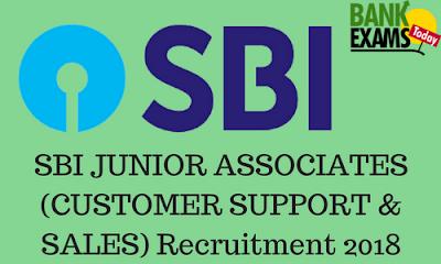 SBI JUNIOR ASSOCIATES (CUSTOMER SUPPORT & SALES) Recruitment 2018