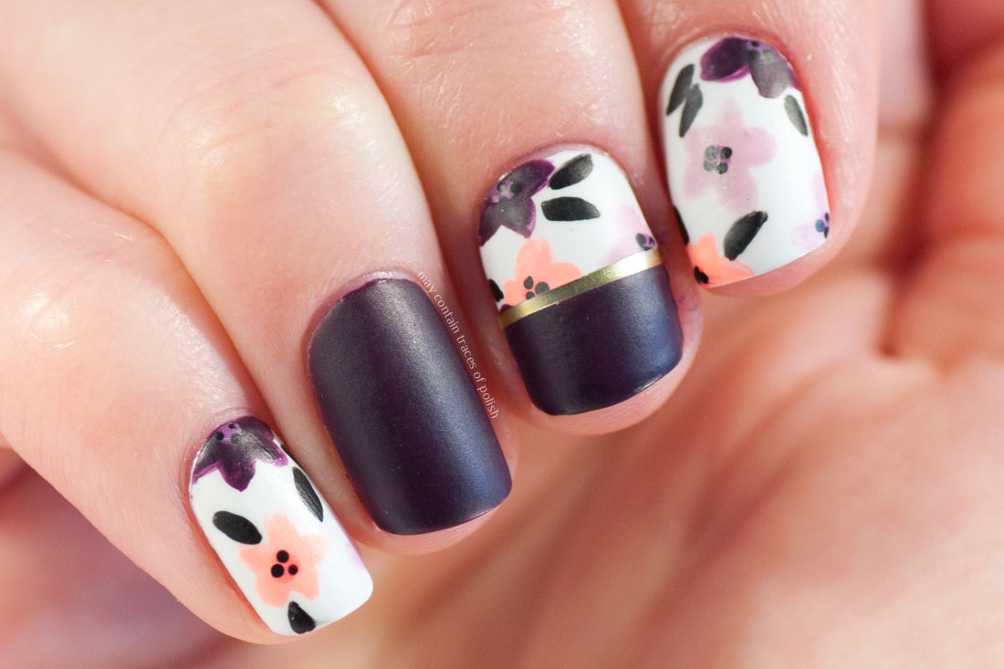 Dark Flower Nails - May contain traces of polish