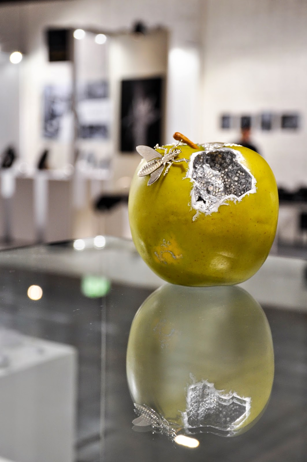 A handmade jewellery apple in the booth of Antoaneta Ivanova of Antoanetta Fine Jewellery at Origin Fair in Vicenza, Italy
