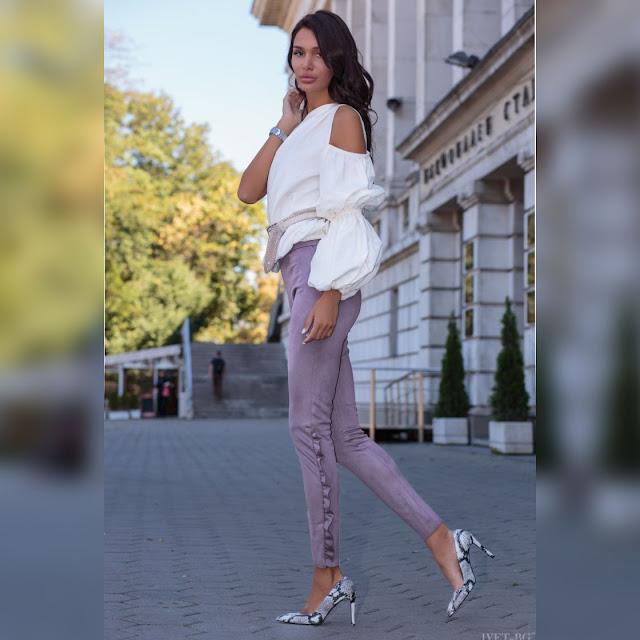 Ψηλόμεσο μεσάτο γκρι παντελόνι MIRIAM GREY