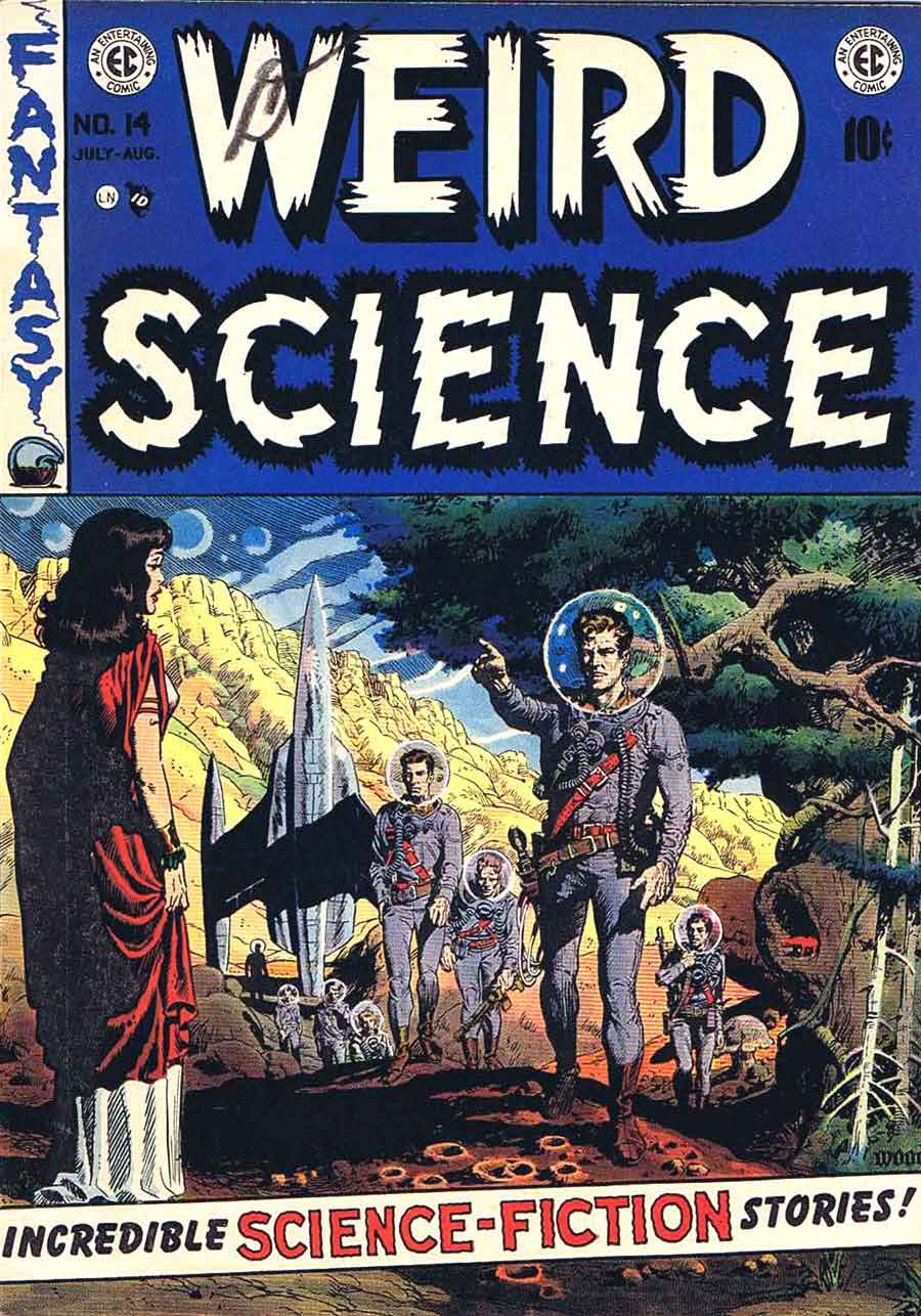 Weird Science v2 #14 ec science fiction comic book cover art by Wally Wood