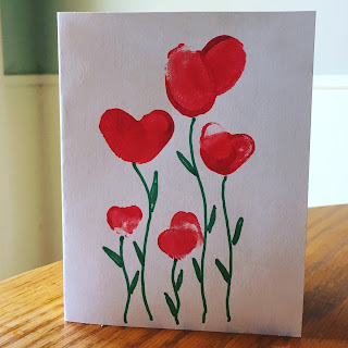 Thumb-print flowers Mothers Day Card