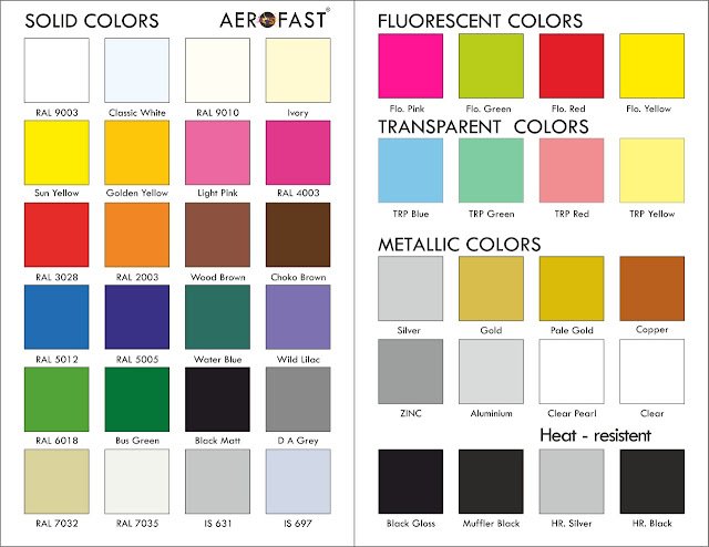 AEROFAST AEROSOL - 8758763344 SPRAY PAINT SHADE CARD