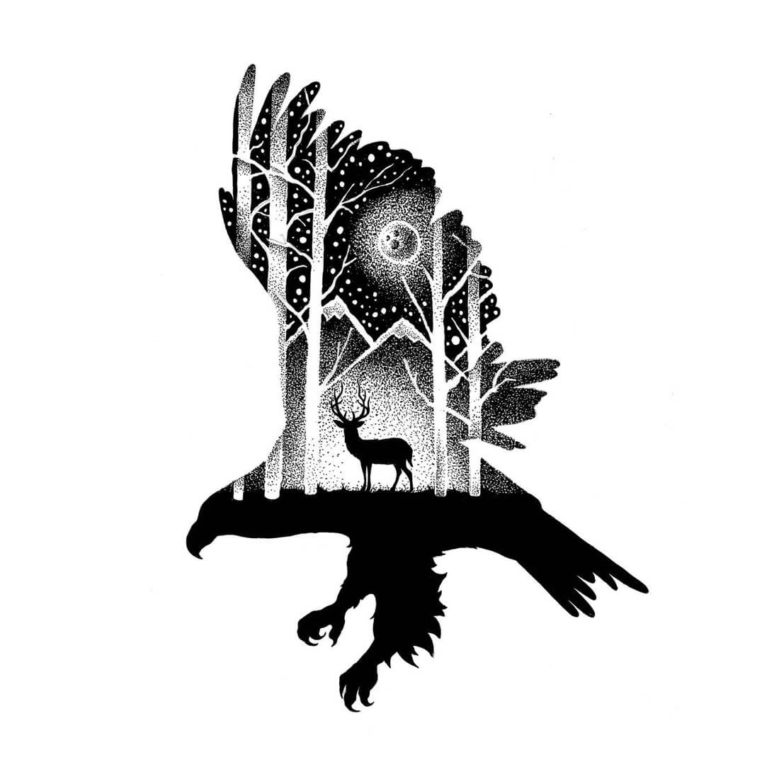 13-The-Eagle-and-the-Deer-Thiago-Bianchini-Ink-Animal-Drawings-Within-a-Drawing-www-designstack-co