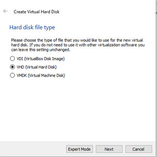 Select Virtual Hard disk type in VirtualBox