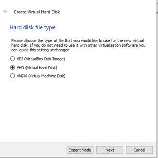 Select Virtual Hard disk type in VirtualBox