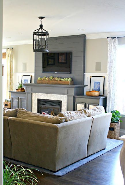 dark gray fireplace