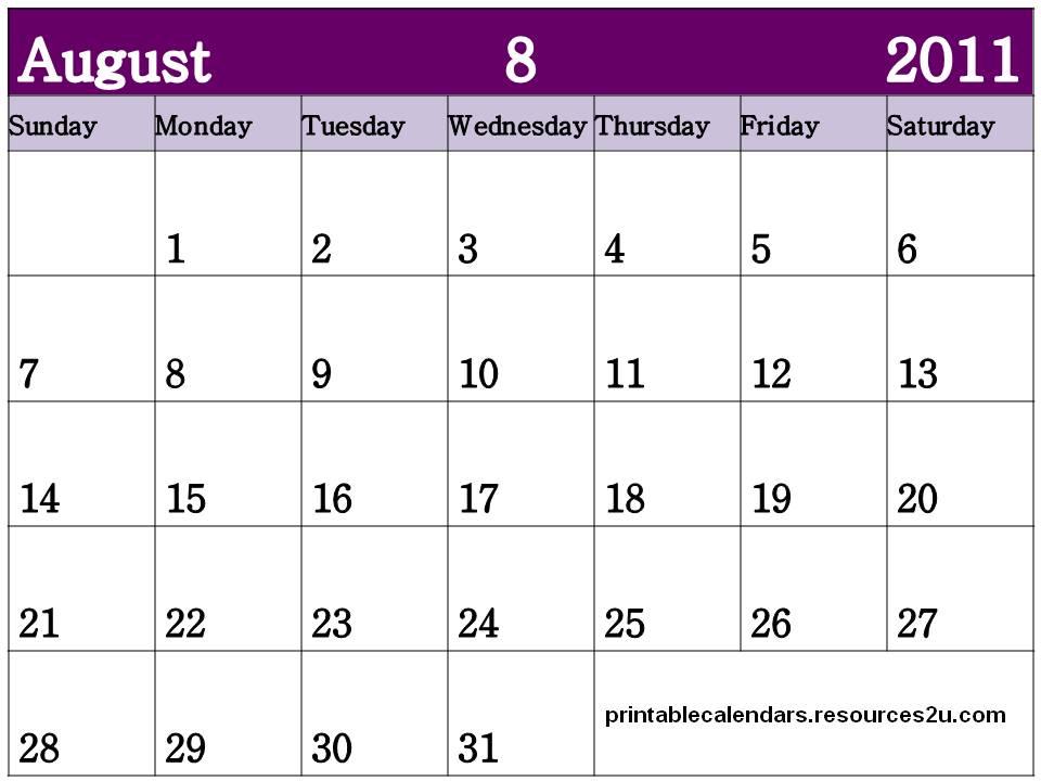 2011: August 2011 Blank Calendar