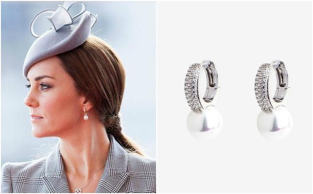 Kolczyki księżnej Kate srebrne z perłami