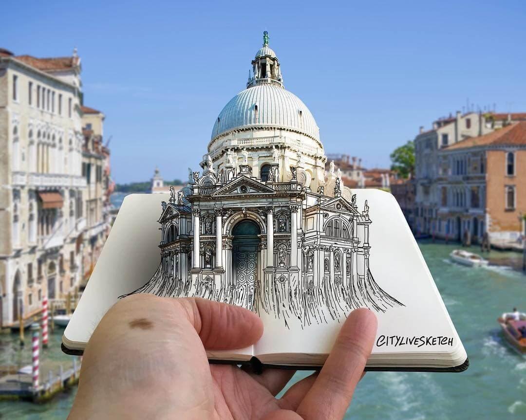 01-Santa-Maria-della-Salute-Venice-Pietro-Cataudella-3D-Architectural-Urban-Moleskine-Sketches-www-designstack-co