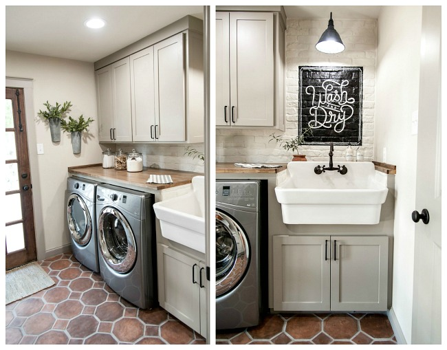 Neutral modern farmhouse laundry room