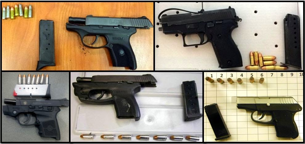 Clockwise from top left, firearms discovered at: ATL, BNA, BHM, OMA & IAH
