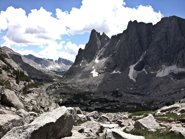 The Cirque of the Towers in the Wind River Range of Wyoming. Looking towards Warbonnet and Warrior