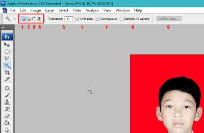 cara seleksi foto dengan magic wand tool