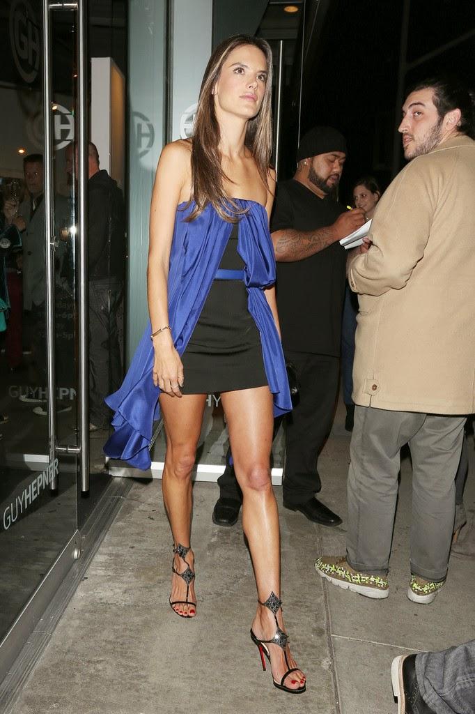 Sexy Alessandra Ambrosio Wearing A Short Black Dress At