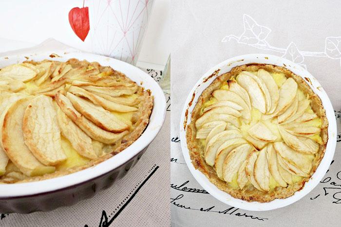 Gebackener Apfelkuchen mit Puddingcreme