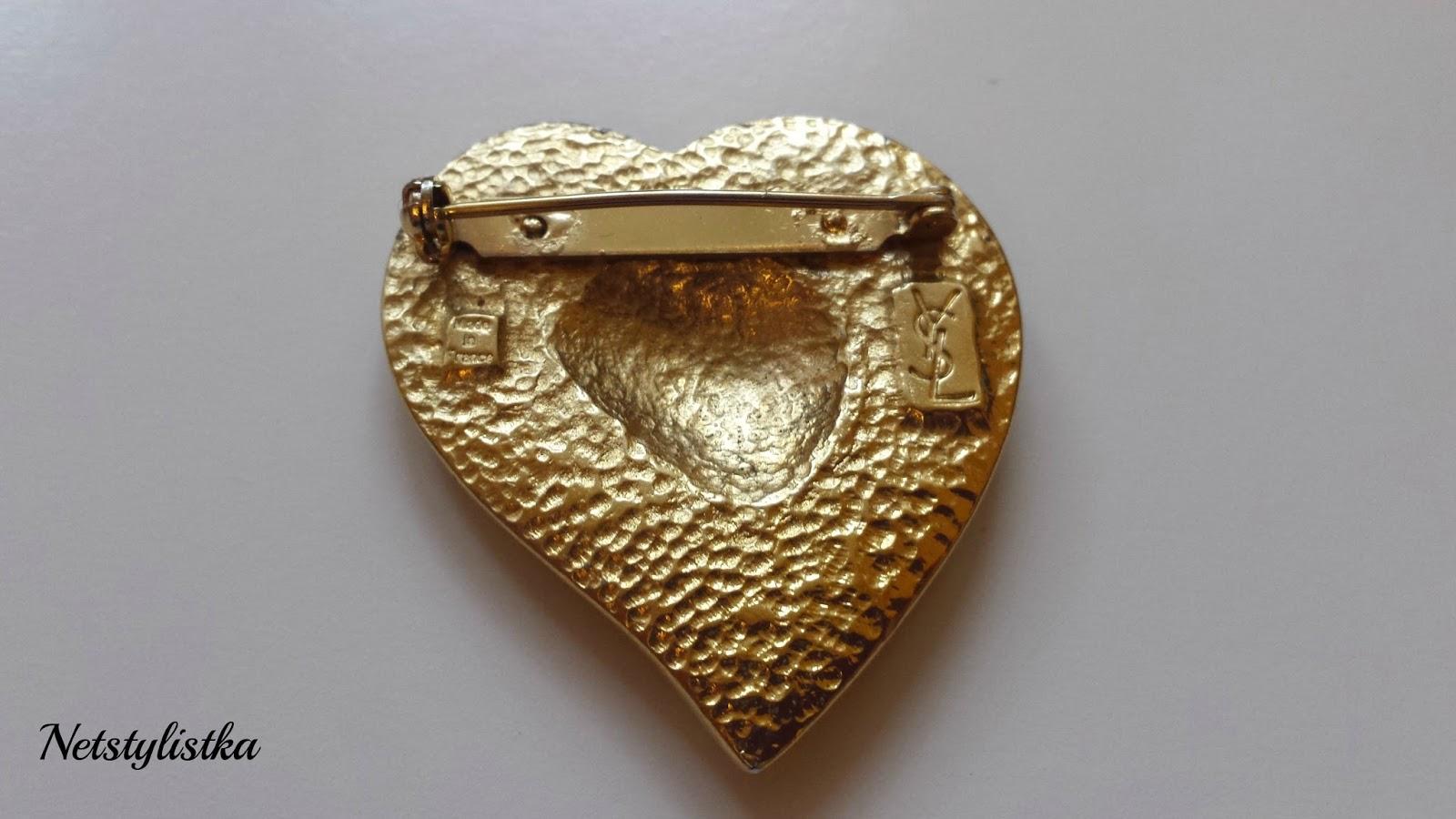 YSL vintage biżuteria broszka stara biżuteria od Yves Saint Laurent, złota broszka, blog modowy